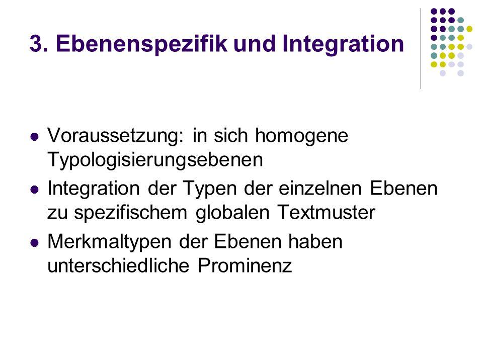 3. Ebenenspezifik und Integration Voraussetzung: in sich homogene Typologisierungsebenen Integration der Typen der einzelnen Ebenen zu spezifischem gl