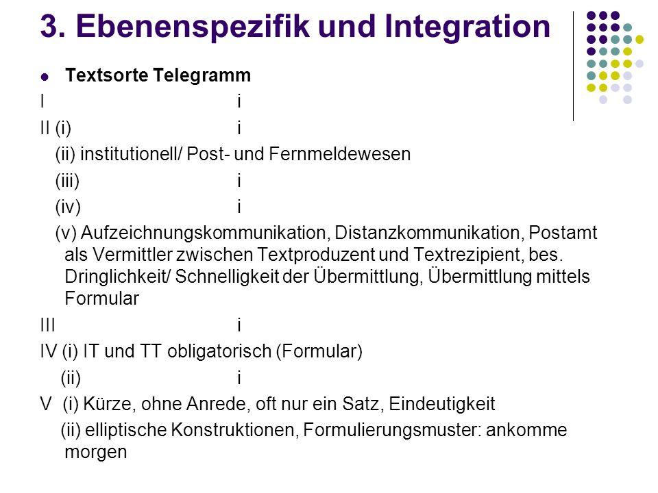 3. Ebenenspezifik und Integration Textsorte Telegramm I i II (i)i (ii) institutionell/ Post- und Fernmeldewesen (iii)i (iv)i (v) Aufzeichnungskommunik