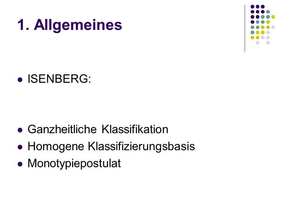 1. Allgemeines ISENBERG: Ganzheitliche Klassifikation Homogene Klassifizierungsbasis Monotypiepostulat