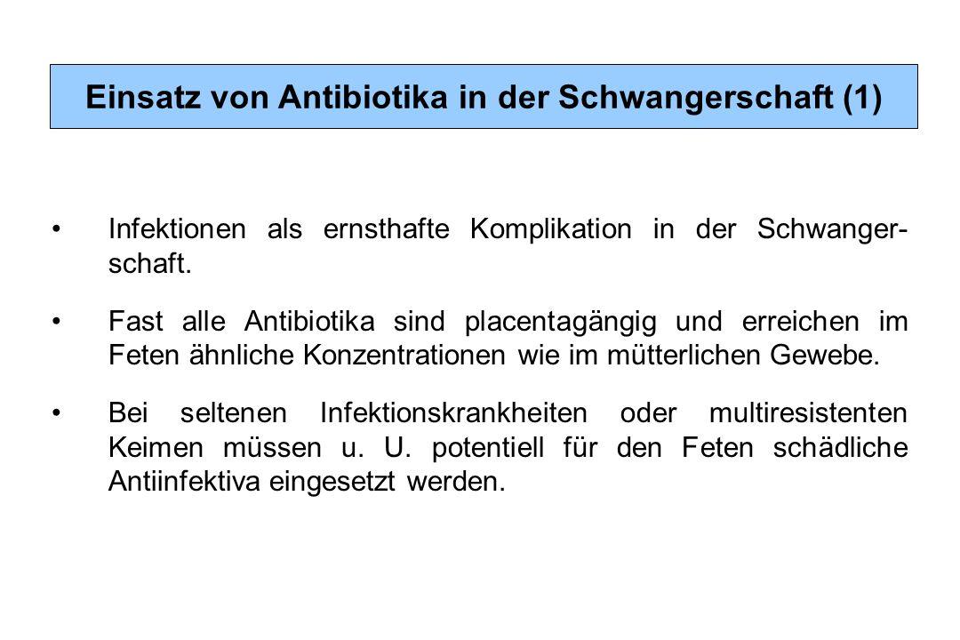 Infektionen als ernsthafte Komplikation in der Schwanger- schaft. Fast alle Antibiotika sind placentagängig und erreichen im Feten ähnliche Konzentrat