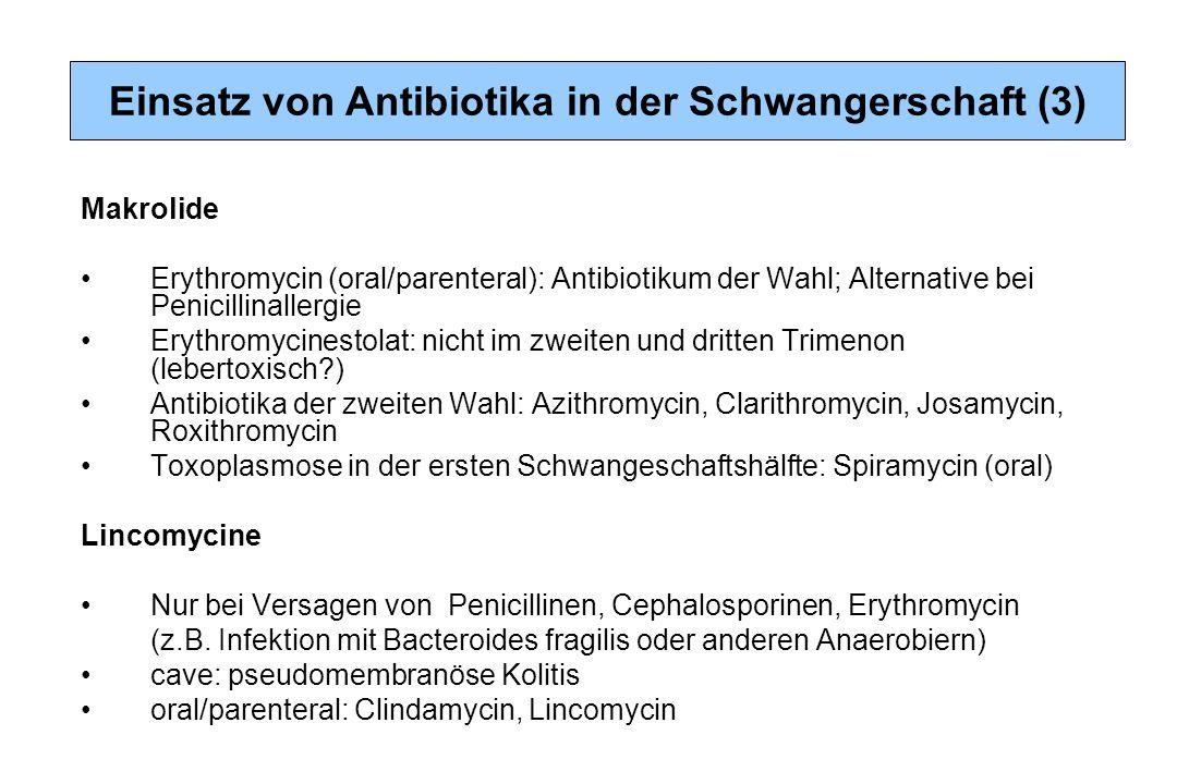 Makrolide Erythromycin (oral/parenteral): Antibiotikum der Wahl; Alternative bei Penicillinallergie Erythromycinestolat: nicht im zweiten und dritten