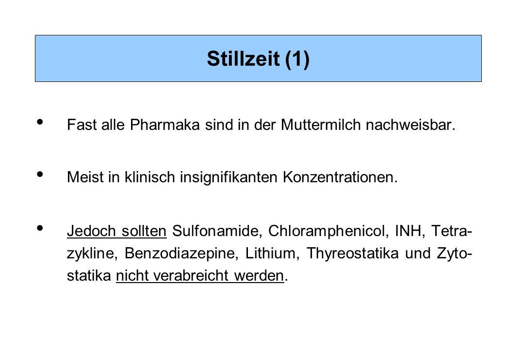Stillzeit (1) Fast alle Pharmaka sind in der Muttermilch nachweisbar. Meist in klinisch insignifikanten Konzentrationen. Jedoch sollten Sulfonamide, C
