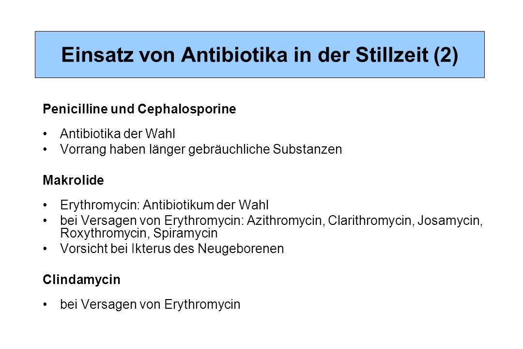 Einsatz von Antibiotika in der Stillzeit (2) Penicilline und Cephalosporine Antibiotika der Wahl Vorrang haben länger gebräuchliche Substanzen Makroli