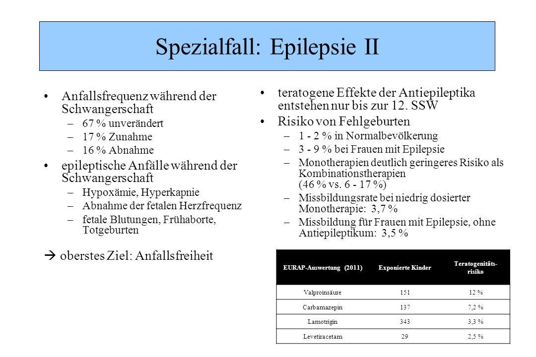 Spezialfall: Epilepsie II Anfallsfrequenz während der Schwangerschaft –67 % unverändert –17 % Zunahme –16 % Abnahme epileptische Anfälle während der S