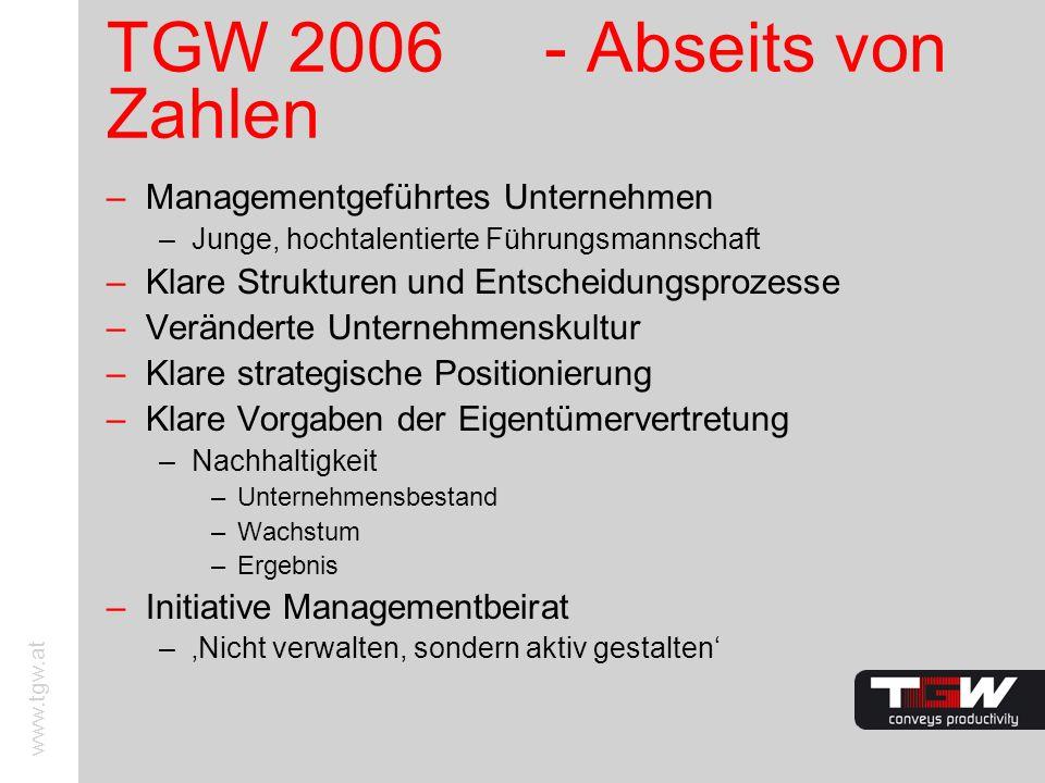 www.tgw.at TGW 2006 - Abseits von Zahlen –Managementgeführtes Unternehmen –Junge, hochtalentierte Führungsmannschaft –Klare Strukturen und Entscheidun