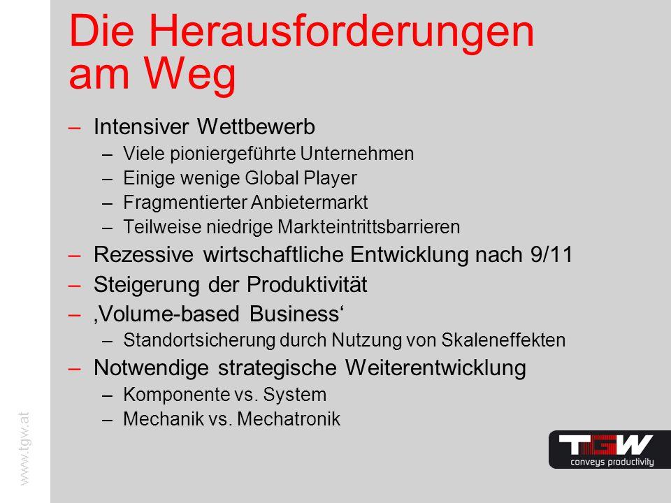 www.tgw.at Die Herausforderungen am Weg –Intensiver Wettbewerb –Viele pioniergeführte Unternehmen –Einige wenige Global Player –Fragmentierter Anbiete