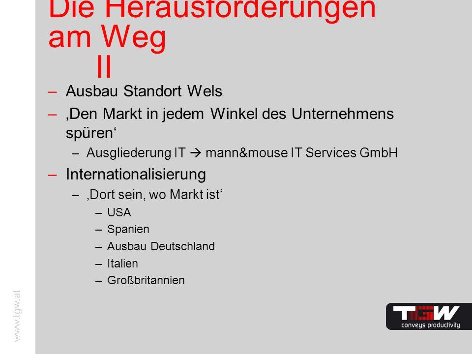 www.tgw.at Die Herausforderungen am Weg II –Ausbau Standort Wels –Den Markt in jedem Winkel des Unternehmens spüren –Ausgliederung IT mann&mouse IT Se