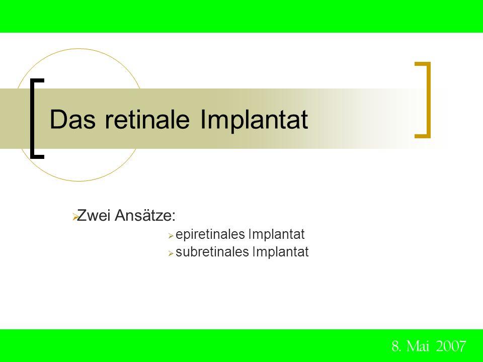 Das retinale Implantat 8. Mai 2007 Zwei Ansätze: epiretinales Implantat subretinales Implantat