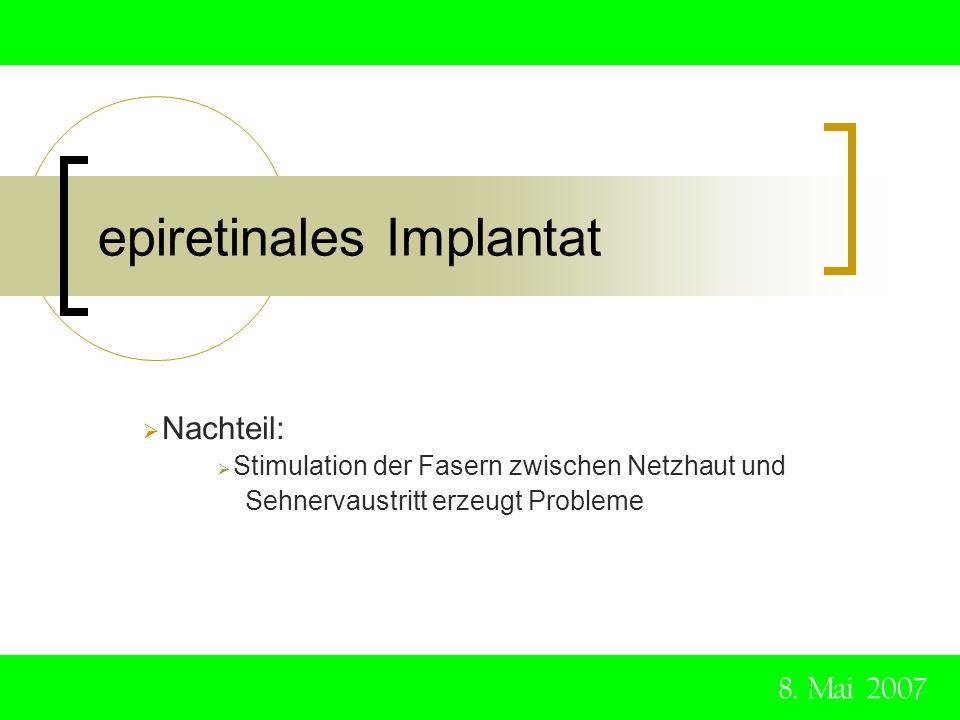 epiretinales Implantat 8. Mai 2007 Nachteil: Stimulation der Fasern zwischen Netzhaut und Sehnervaustritt erzeugt Probleme