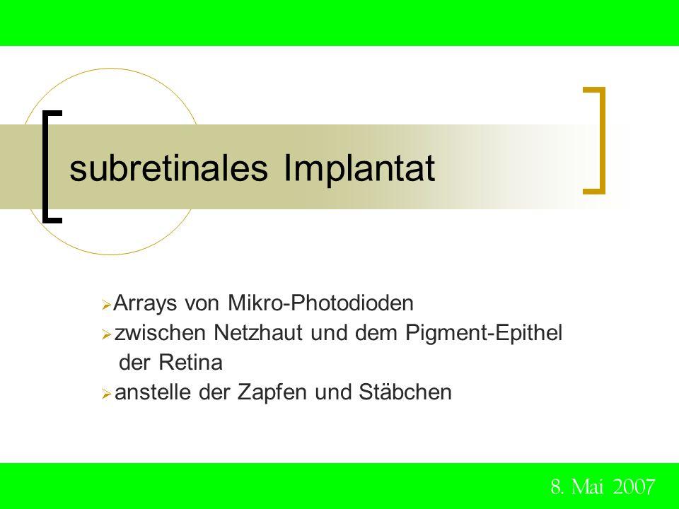 subretinales Implantat 8. Mai 2007 Arrays von Mikro-Photodioden zwischen Netzhaut und dem Pigment-Epithel der Retina anstelle der Zapfen und Stäbchen