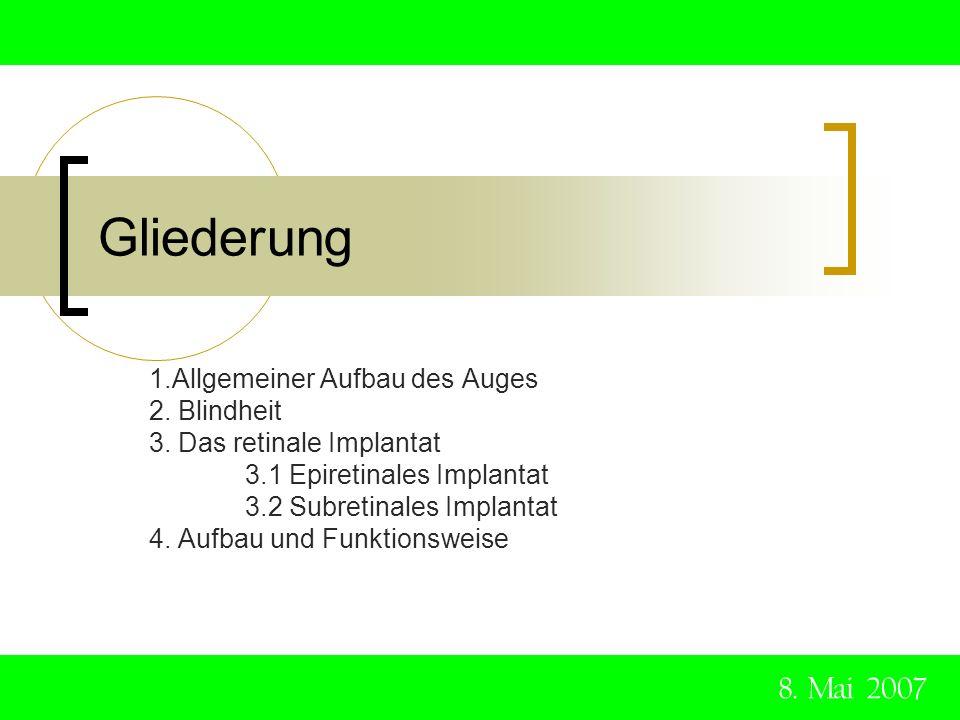 Hintergrund Die klassische Medizin kennt keine umfassende Behandlung gegen Blindheit jährlich erblinden allein in Deutschland 17.000 Menschen 8.