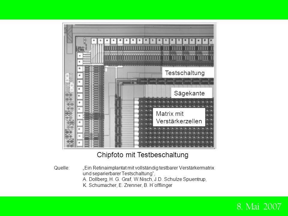 8. Mai 2007 Chipfoto mit Testbeschaltung Quelle: Ein Retinaimplantat mit vollständig testbarer Verstärkermatrix und separierbarer Testschaltung, A. Do