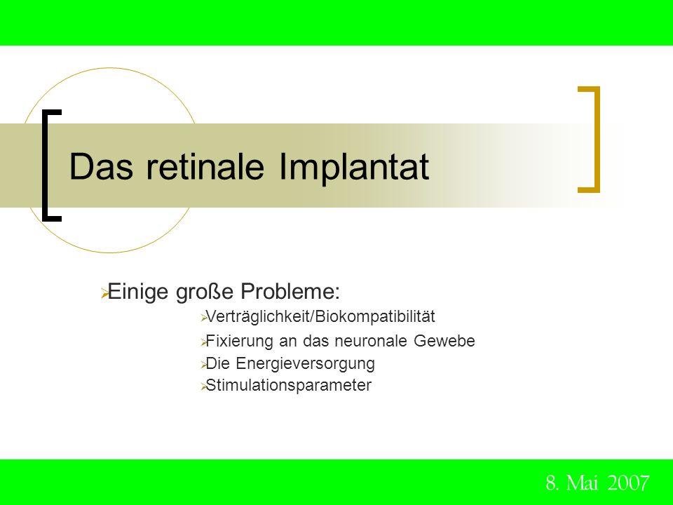 Das retinale Implantat 8. Mai 2007 Einige große Probleme: Verträglichkeit/Biokompatibilität Fixierung an das neuronale Gewebe Die Energieversorgung St