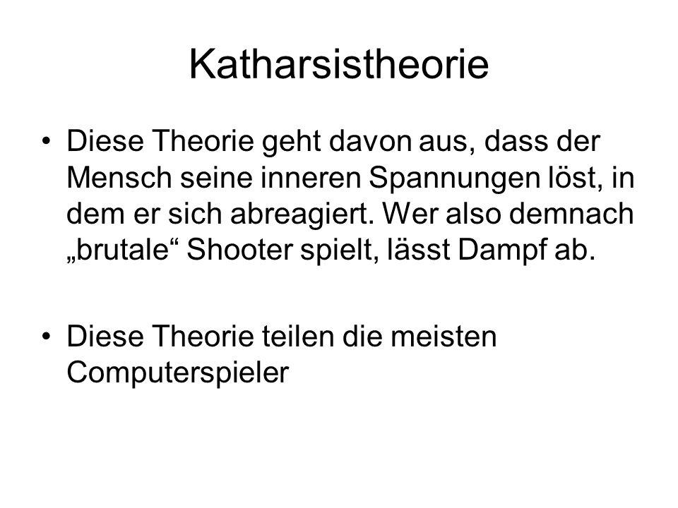 Katharsistheorie Diese Theorie geht davon aus, dass der Mensch seine inneren Spannungen löst, in dem er sich abreagiert. Wer also demnach brutale Shoo
