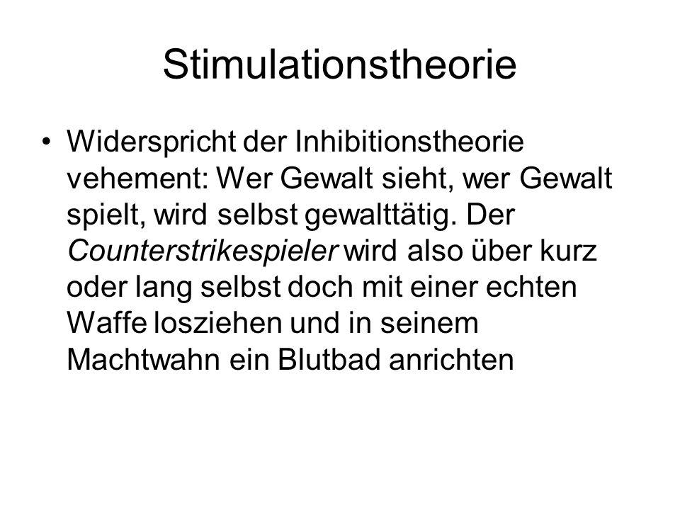 Stimulationstheorie Widerspricht der Inhibitionstheorie vehement: Wer Gewalt sieht, wer Gewalt spielt, wird selbst gewalttätig. Der Counterstrikespiel