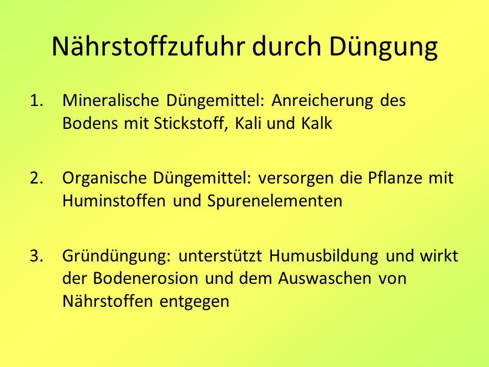 Nährstoffzufuhr durch Düngung 1.Mineralische Düngemittel: Anreicherung des Bodens mit Stickstoff, Kali und Kalk 2.Organische Düngemittel: versorgen di