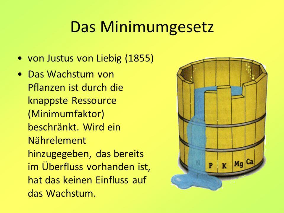 Das Minimumgesetz von Justus von Liebig (1855) Das Wachstum von Pflanzen ist durch die knappste Ressource (Minimumfaktor) beschränkt. Wird ein Nährele
