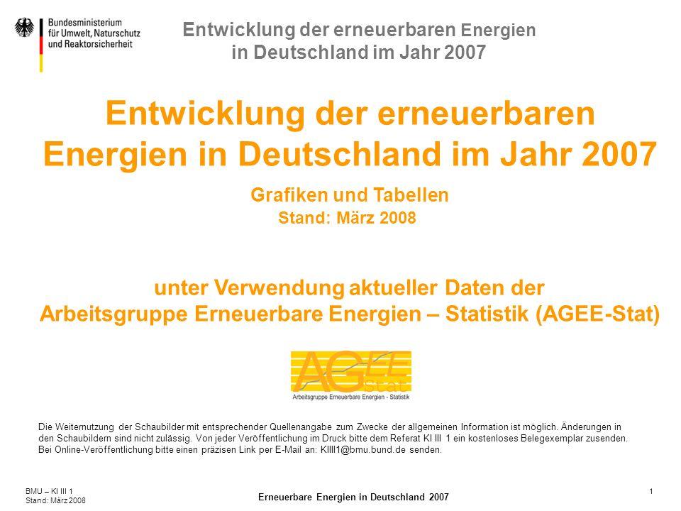 1BMU – KI III 1 Stand: März 2008 Erneuerbare Energien in Deutschland 2007 Entwicklung der erneuerbaren Energien in Deutschland im Jahr 2007 Entwicklun