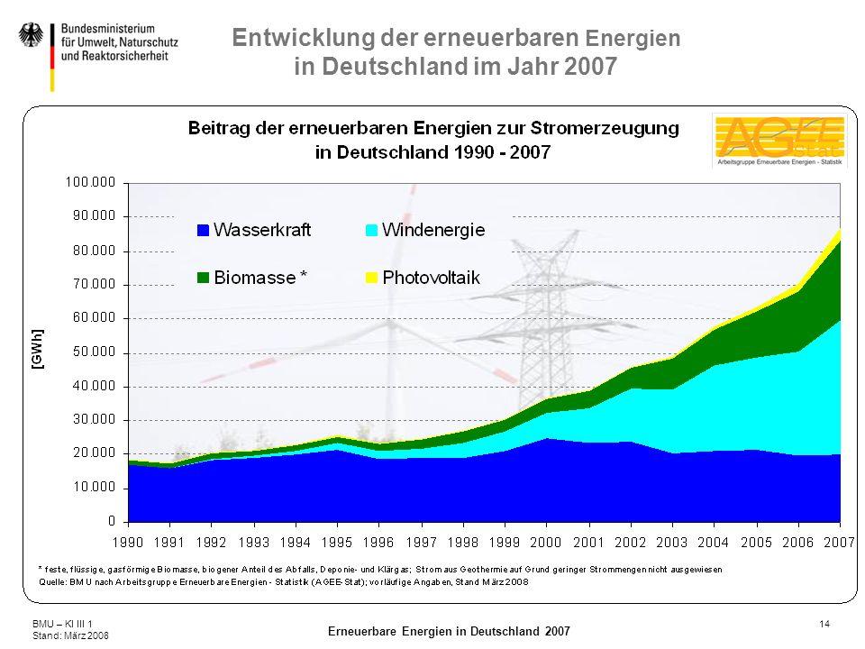 14BMU – KI III 1 Stand: März 2008 Erneuerbare Energien in Deutschland 2007 Entwicklung der erneuerbaren Energien in Deutschland im Jahr 2007