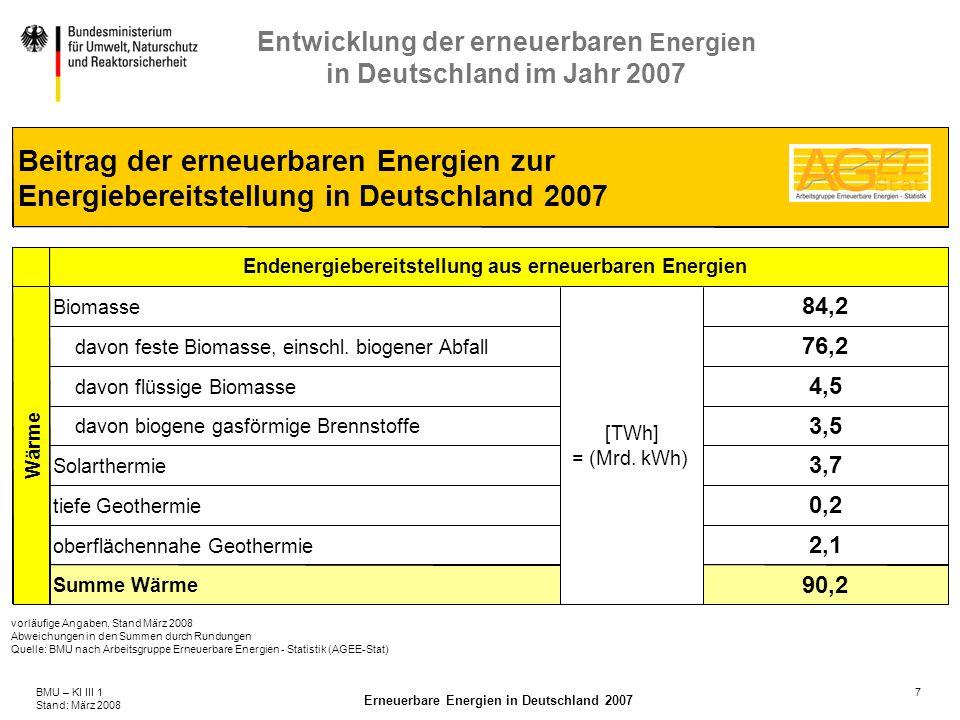 7BMU – KI III 1 Stand: März 2008 Erneuerbare Energien in Deutschland 2007 Entwicklung der erneuerbaren Energien in Deutschland im Jahr 2007 vorläufige