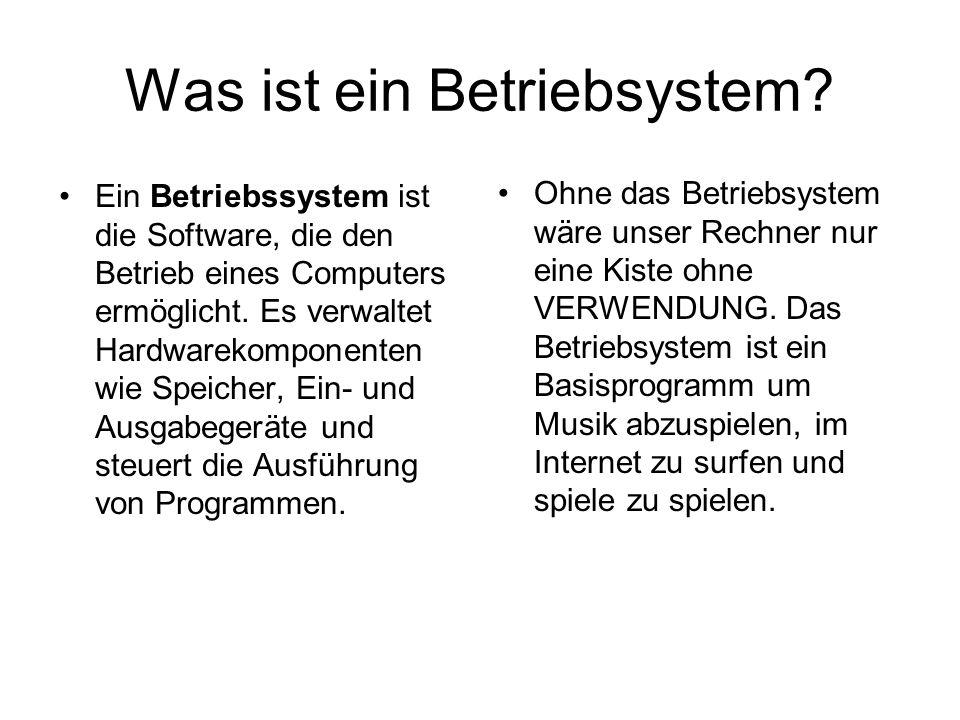 Was ist ein Betriebsystem? Ein Betriebssystem ist die Software, die den Betrieb eines Computers ermöglicht. Es verwaltet Hardwarekomponenten wie Speic
