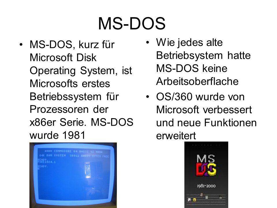MS-DOS MS-DOS, kurz für Microsoft Disk Operating System, ist Microsofts erstes Betriebssystem für Prozessoren der x86er Serie. MS-DOS wurde 1981 veröf