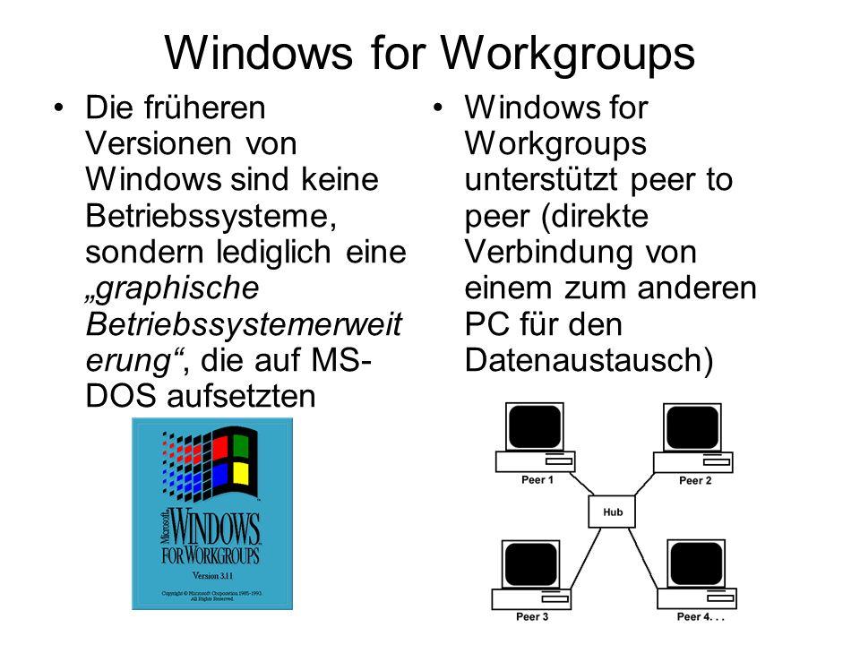 Windows for Workgroups Die früheren Versionen von Windows sind keine Betriebssysteme, sondern lediglich eine graphische Betriebssystemerweit erung, die auf MS- DOS aufsetzten Windows for Workgroups unterstützt peer to peer (direkte Verbindung von einem zum anderen PC für den Datenaustausch)