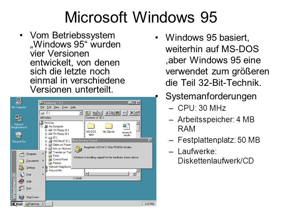 Microsoft Windows 95 Vom Betriebssystem Windows 95 wurden vier Versionen entwickelt, von denen sich die letzte noch einmal in verschiedene Versionen u