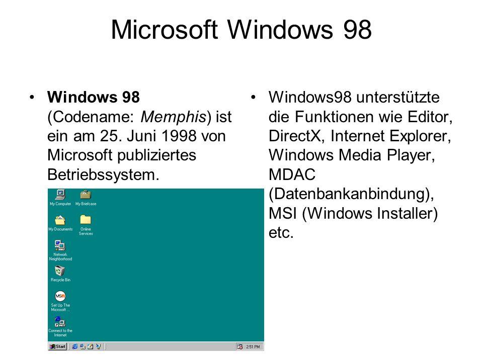 Microsoft Windows 98 Windows 98 (Codename: Memphis) ist ein am 25. Juni 1998 von Microsoft publiziertes Betriebssystem. Windows98 unterstützte die Fun