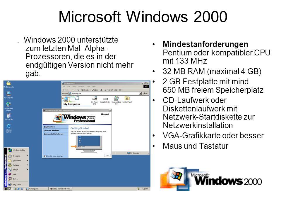 Microsoft Windows 2000. Windows 2000 unterstützte zum letzten Mal Alpha- Prozessoren, die es in der endgültigen Version nicht mehr gab. Mindestanforde