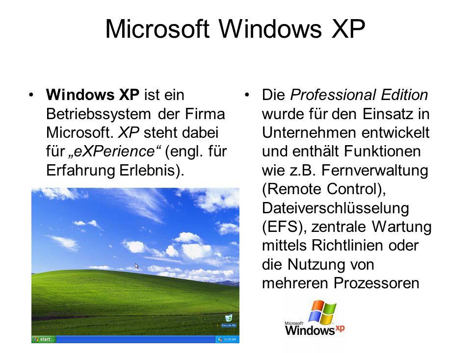 Microsoft Windows XP Windows XP ist ein Betriebssystem der Firma Microsoft. XP steht dabei für eXPerience (engl. für Erfahrung Erlebnis). Die Professi