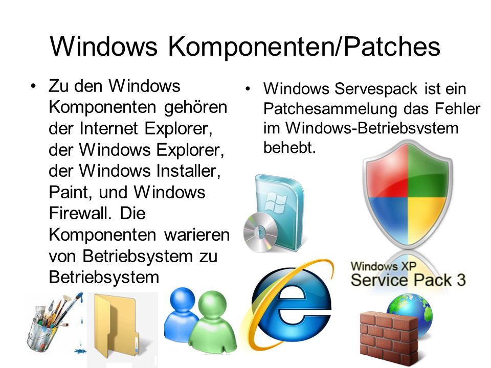 Windows Komponenten/Patches Zu den Windows Komponenten gehören der Internet Explorer, der Windows Explorer, der Windows Installer, Paint, und Windows