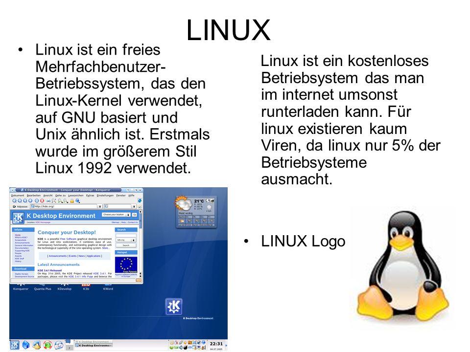 LINUX Linux ist ein freies Mehrfachbenutzer- Betriebssystem, das den Linux-Kernel verwendet, auf GNU basiert und Unix ähnlich ist.