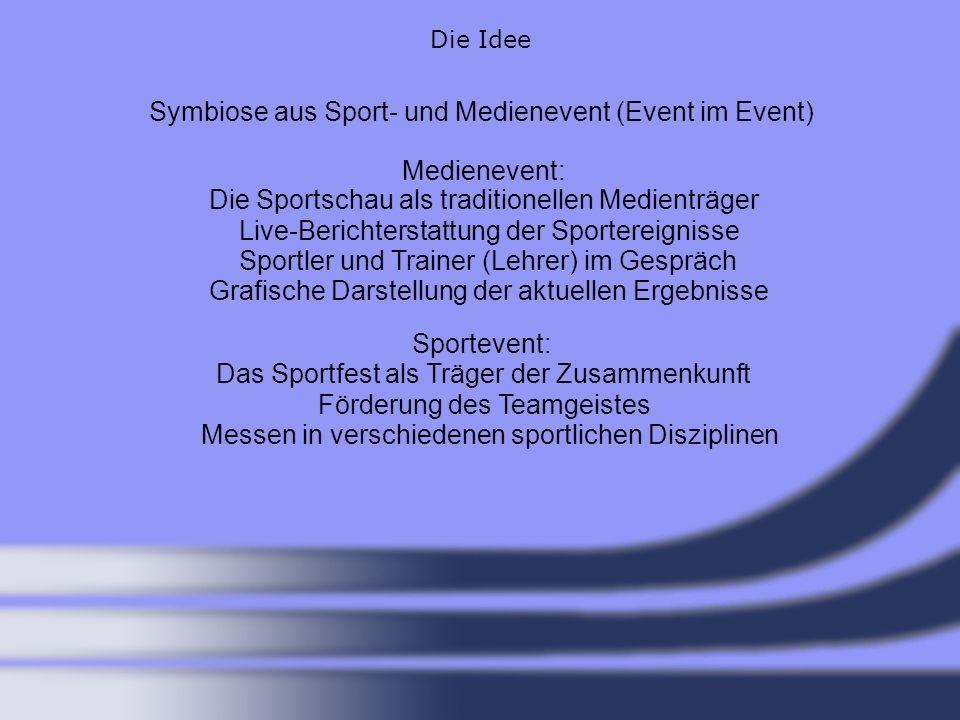 Die Idee Symbiose aus Sport- und Medienevent (Event im Event) Medienevent: Sportevent: Die Sportschau als traditionellen Medienträger Live-Berichterst