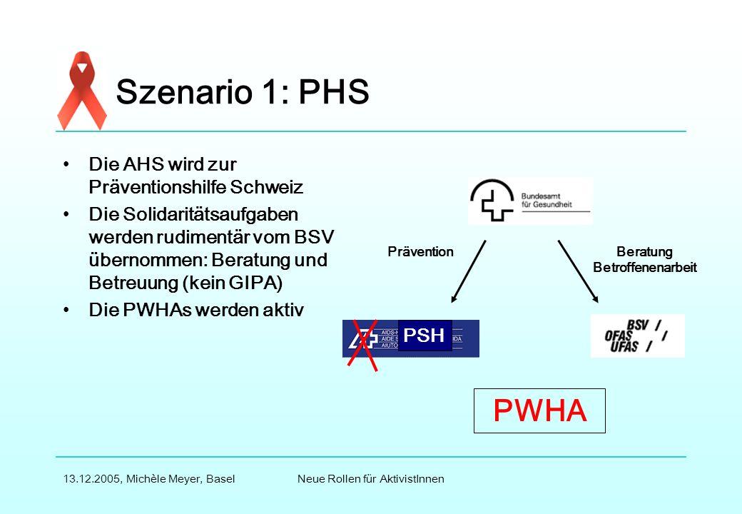 Neue Rollen für AktivistInnen13.12.2005, Michèle Meyer, Basel Szenario 1: PHS Die AHS wird zur Präventionshilfe Schweiz Die Solidaritätsaufgaben werden rudimentär vom BSV übernommen: Beratung und Betreuung (kein GIPA) Die PWHAs werden aktiv PräventionBeratung Betroffenenarbeit PWHA PSH