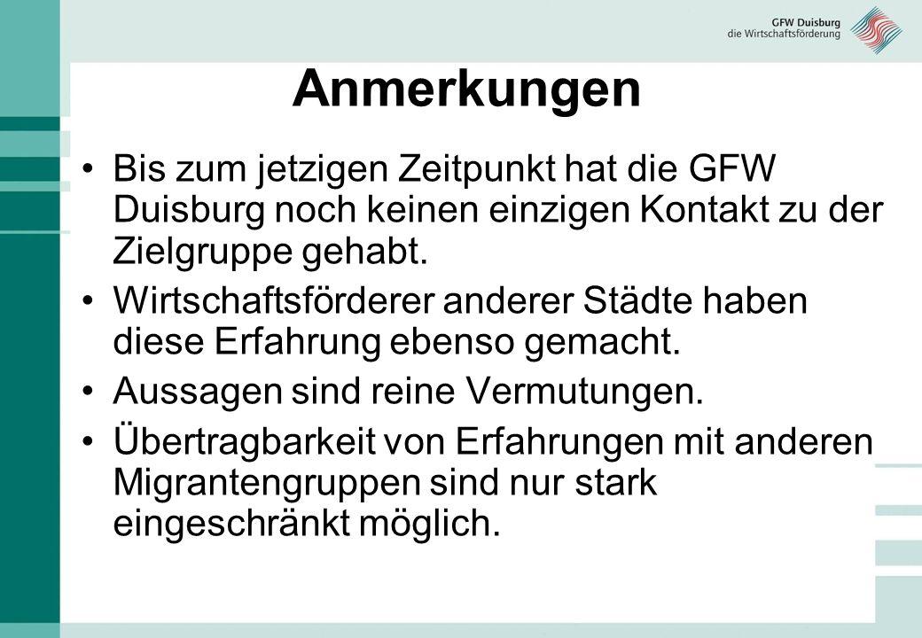 Anmerkungen Bis zum jetzigen Zeitpunkt hat die GFW Duisburg noch keinen einzigen Kontakt zu der Zielgruppe gehabt. Wirtschaftsförderer anderer Städte