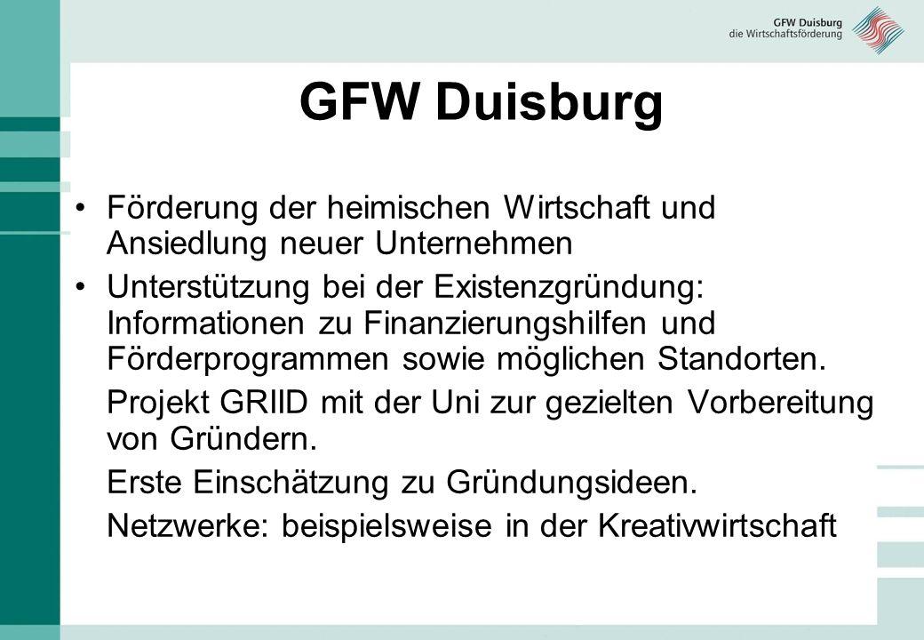 GFW Duisburg Förderung der heimischen Wirtschaft und Ansiedlung neuer Unternehmen Unterstützung bei der Existenzgründung: Informationen zu Finanzierungshilfen und Förderprogrammen sowie möglichen Standorten.