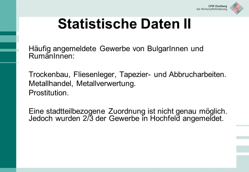 Statistische Daten II Häufig angemeldete Gewerbe von BulgarInnen und RumänInnen: Trockenbau, Fliesenleger, Tapezier- und Abbrucharbeiten. Metallhandel