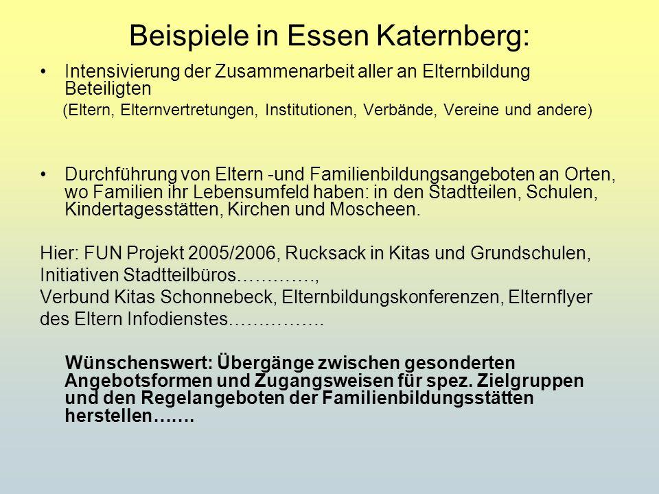 Beispiele in Essen Katernberg: Intensivierung der Zusammenarbeit aller an Elternbildung Beteiligten (Eltern, Elternvertretungen, Institutionen, Verbän