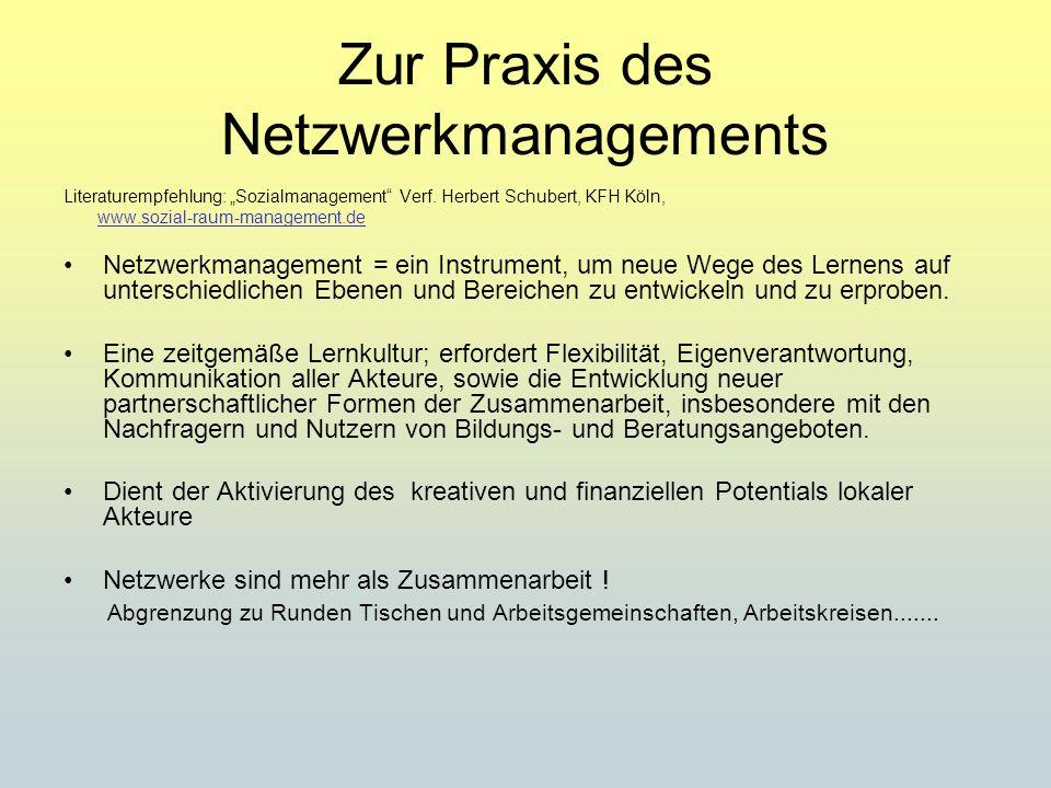 Zur Praxis des Netzwerkmanagements Literaturempfehlung: Sozialmanagement Verf. Herbert Schubert, KFH Köln, www.sozial-raum-management.de Netzwerkmanag