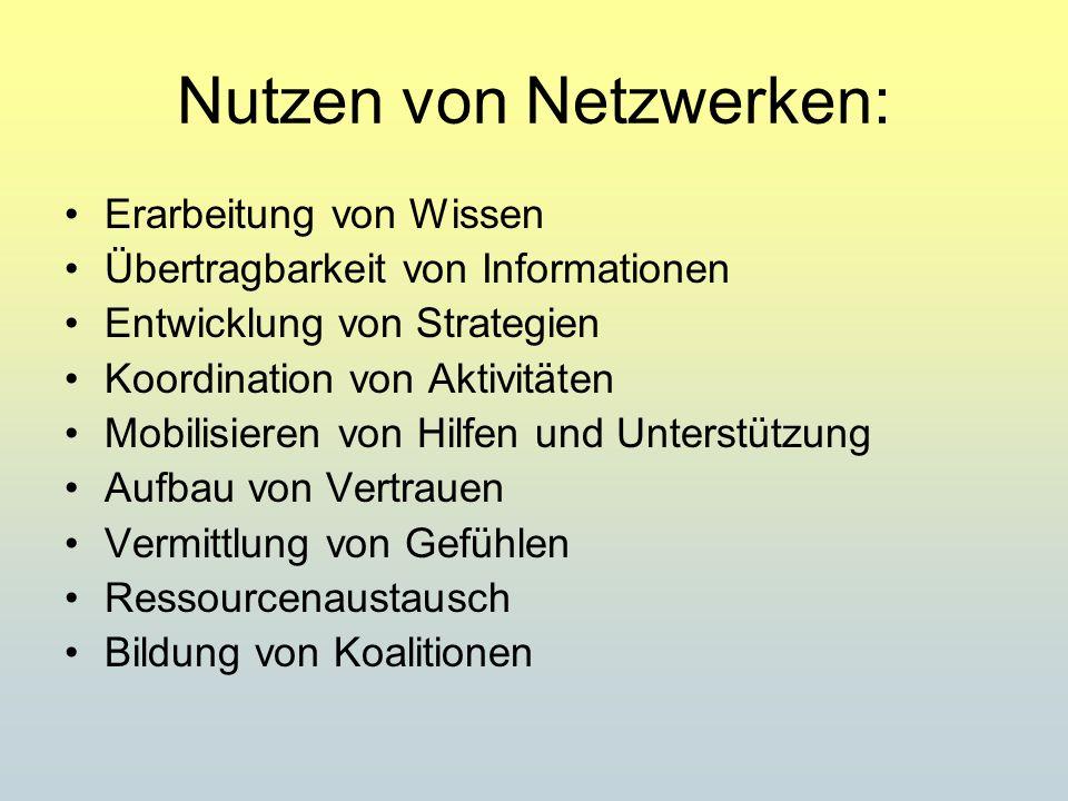 Nutzen von Netzwerken: Erarbeitung von Wissen Übertragbarkeit von Informationen Entwicklung von Strategien Koordination von Aktivitäten Mobilisieren von Hilfen und Unterstützung Aufbau von Vertrauen Vermittlung von Gefühlen Ressourcenaustausch Bildung von Koalitionen
