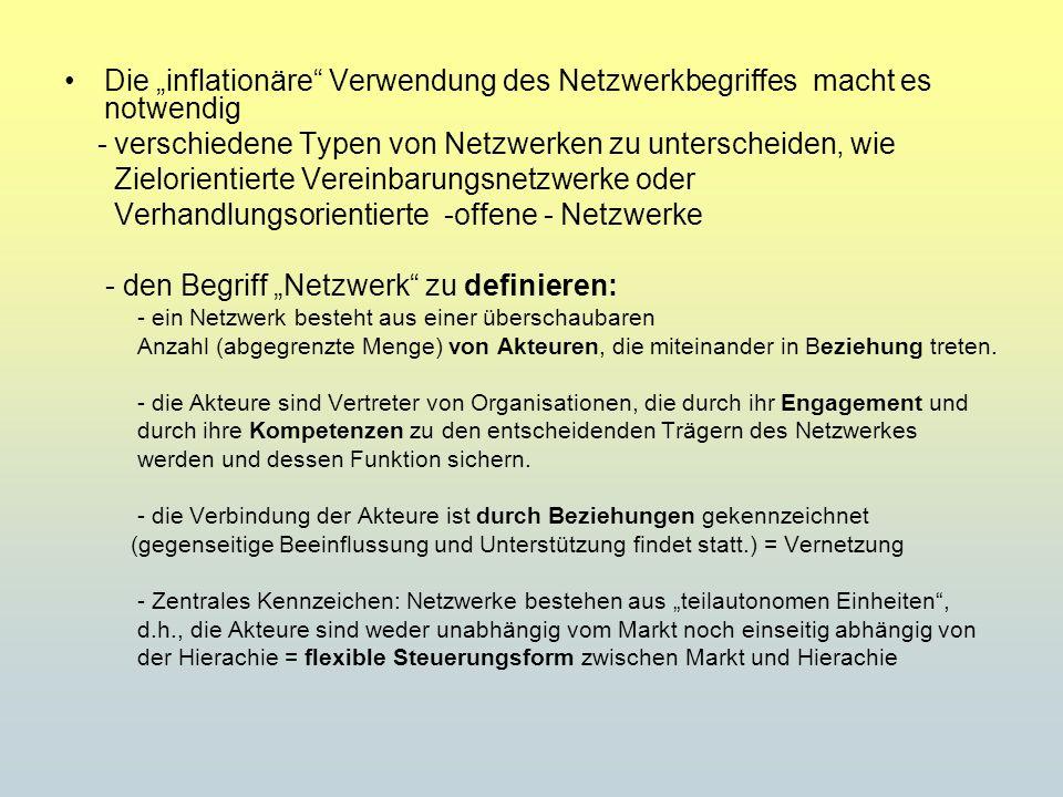 Die inflationäre Verwendung des Netzwerkbegriffes macht es notwendig - verschiedene Typen von Netzwerken zu unterscheiden, wie Zielorientierte Vereinb