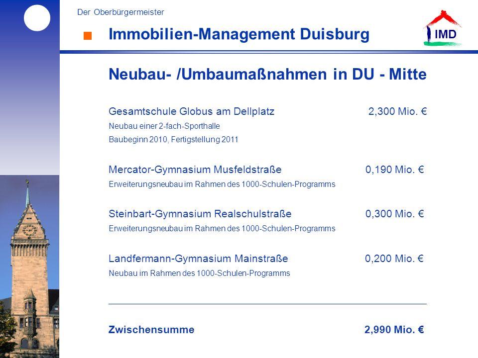 l Der Oberbürgermeister IMD Immobilien-Management Duisburg Neubau- /Umbaumaßnahmen in DU - Mitte Gesamtschule Globus am Dellplatz 2,300 Mio.