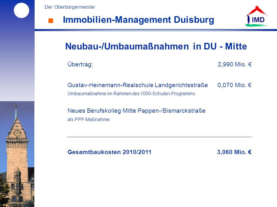 l Der Oberbürgermeister IMD Immobilien-Management Duisburg Neubau-/Umbaumaßnahmen in DU - Mitte Übertrag: 2,990 Mio.