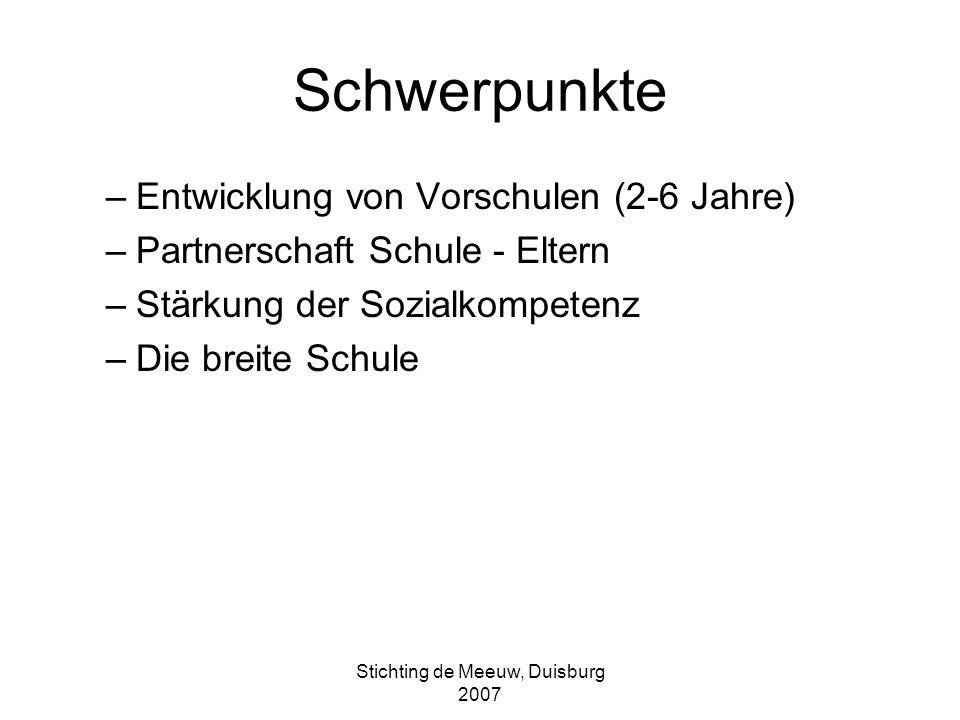 Stichting de Meeuw, Duisburg 2007 Neue Entwicklung:Mehr zeit zum Lernen 6 Stunden mehr pro Woche (26 32 ) für alle Kinder Anfang mit 10 Pilot-Schulen in 2010: 45 Schulen