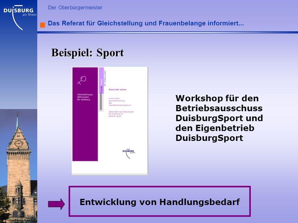 l Der Oberbürgermeister Das Referat für Gleichstellung und Frauenbelange informiert... Workshop für den Betriebsausschuss DuisburgSport und den Eigenb
