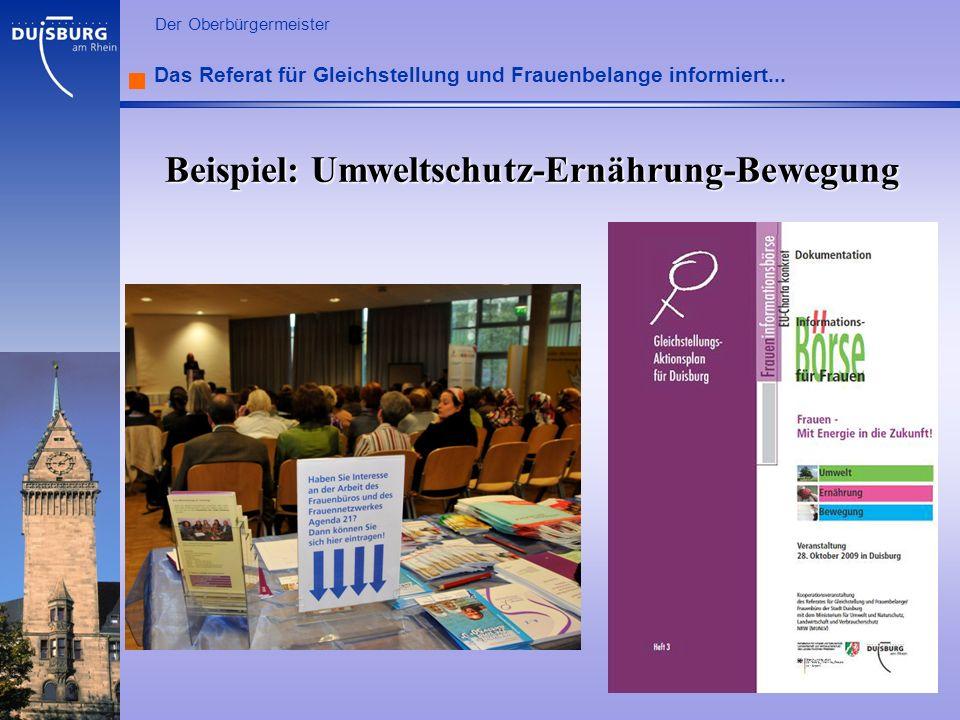 l Der Oberbürgermeister Das Referat für Gleichstellung und Frauenbelange informiert... Beispiel: Umweltschutz-Ernährung-Bewegung