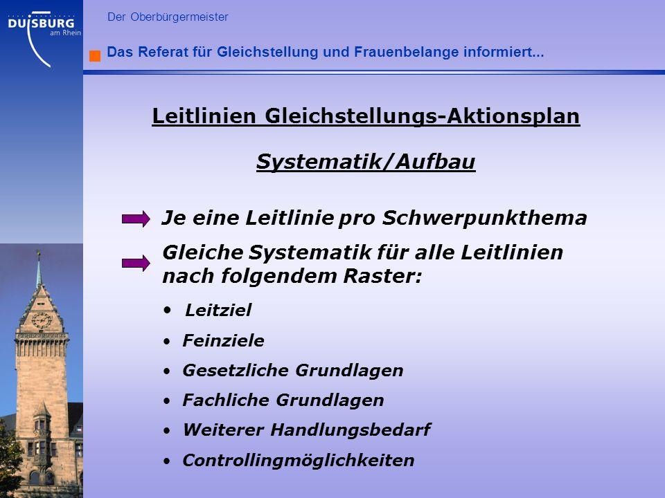 l Der Oberbürgermeister Das Referat für Gleichstellung und Frauenbelange informiert... Leitlinien Gleichstellungs-Aktionsplan Systematik/Aufbau Je ein