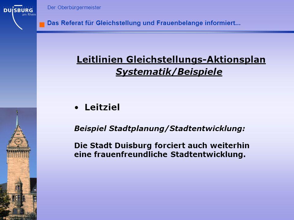 l Der Oberbürgermeister Das Referat für Gleichstellung und Frauenbelange informiert... Leitlinien Gleichstellungs-Aktionsplan Systematik/Beispiele Lei