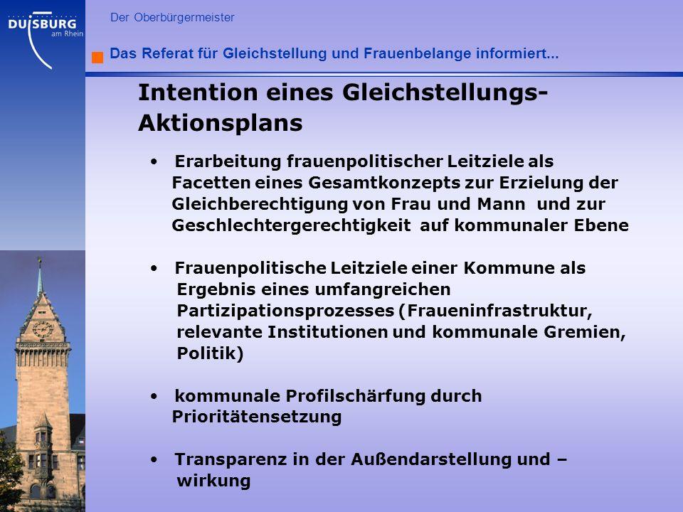 l Der Oberbürgermeister Das Referat für Gleichstellung und Frauenbelange informiert... Intention eines Gleichstellungs- Aktionsplans Erarbeitung fraue